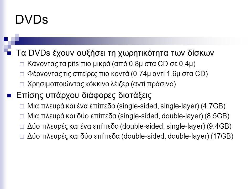 DVDs Tα DVDs έχουν αυξήσει τη χωρητικότητα των δίσκων