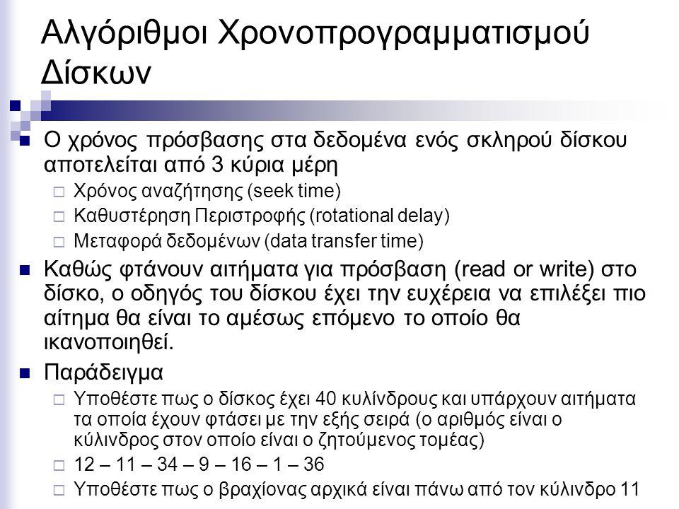 Αλγόριθμοι Χρονοπρογραμματισμού Δίσκων