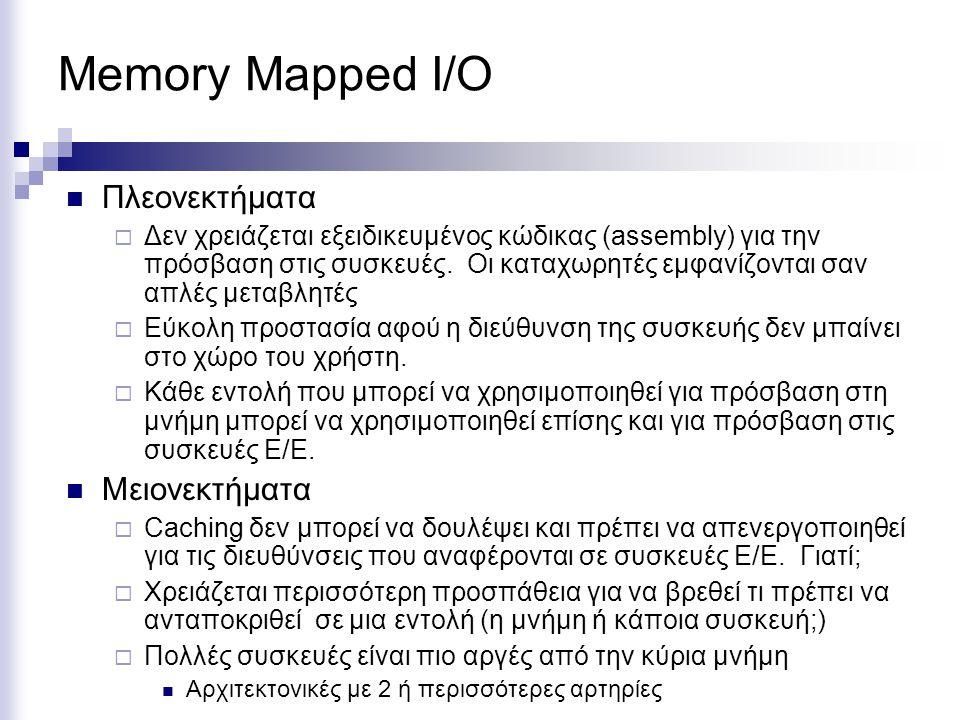 Memory Mapped I/O Πλεονεκτήματα Μειονεκτήματα