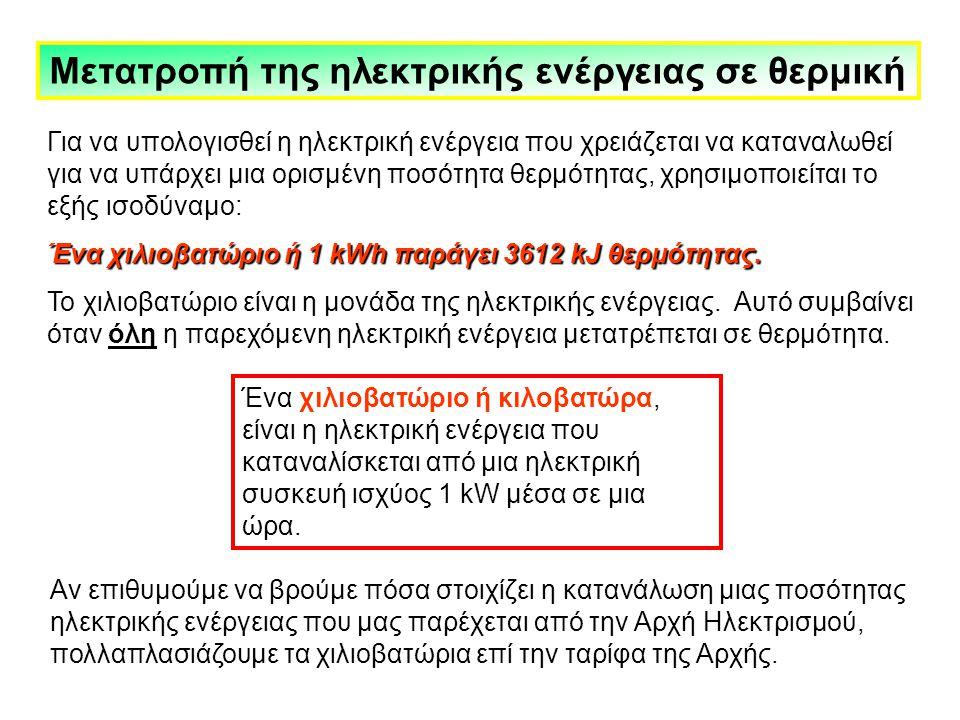 Μετατροπή της ηλεκτρικής ενέργειας σε θερμική