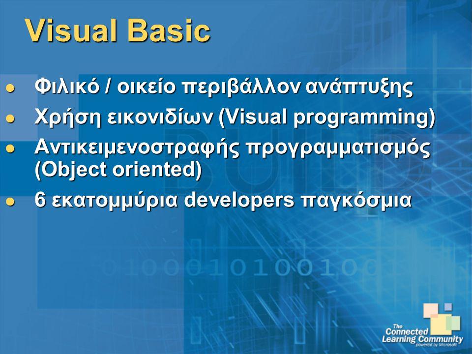 Visual Basic Φιλικό / οικείο περιβάλλον ανάπτυξης