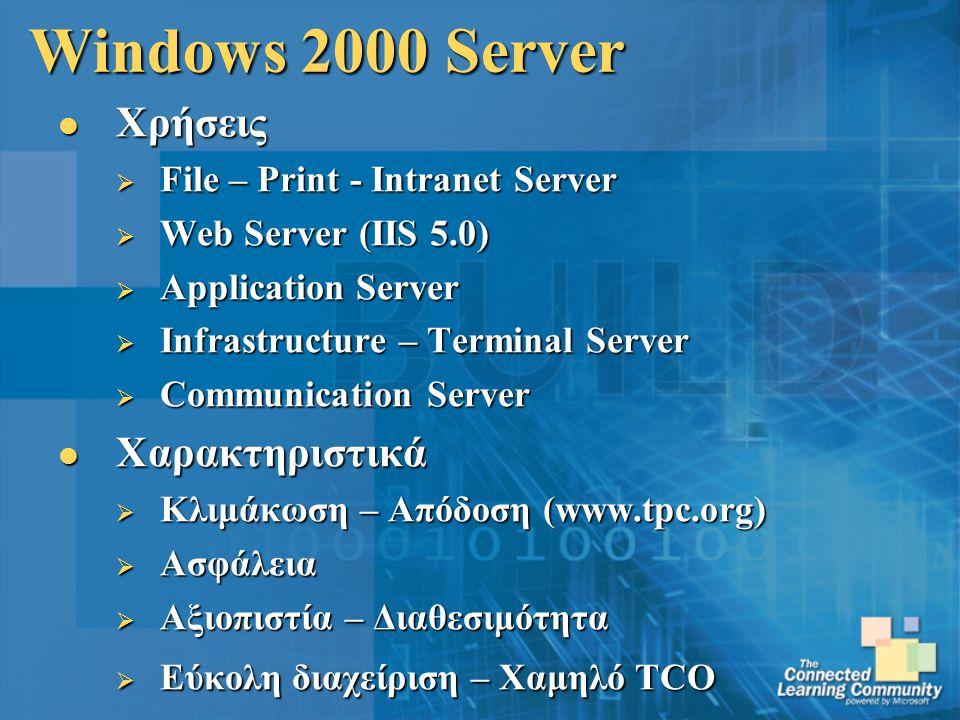 Windows 2000 Server Χρήσεις Χαρακτηριστικά