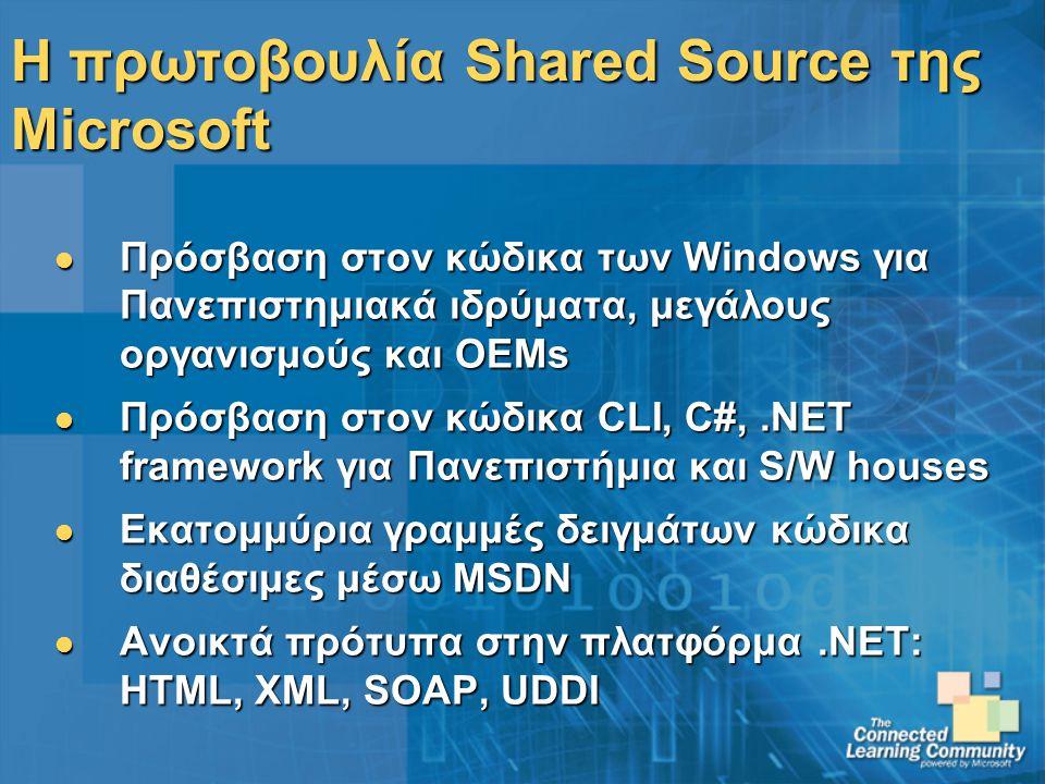 Η πρωτοβουλία Shared Source της Microsoft