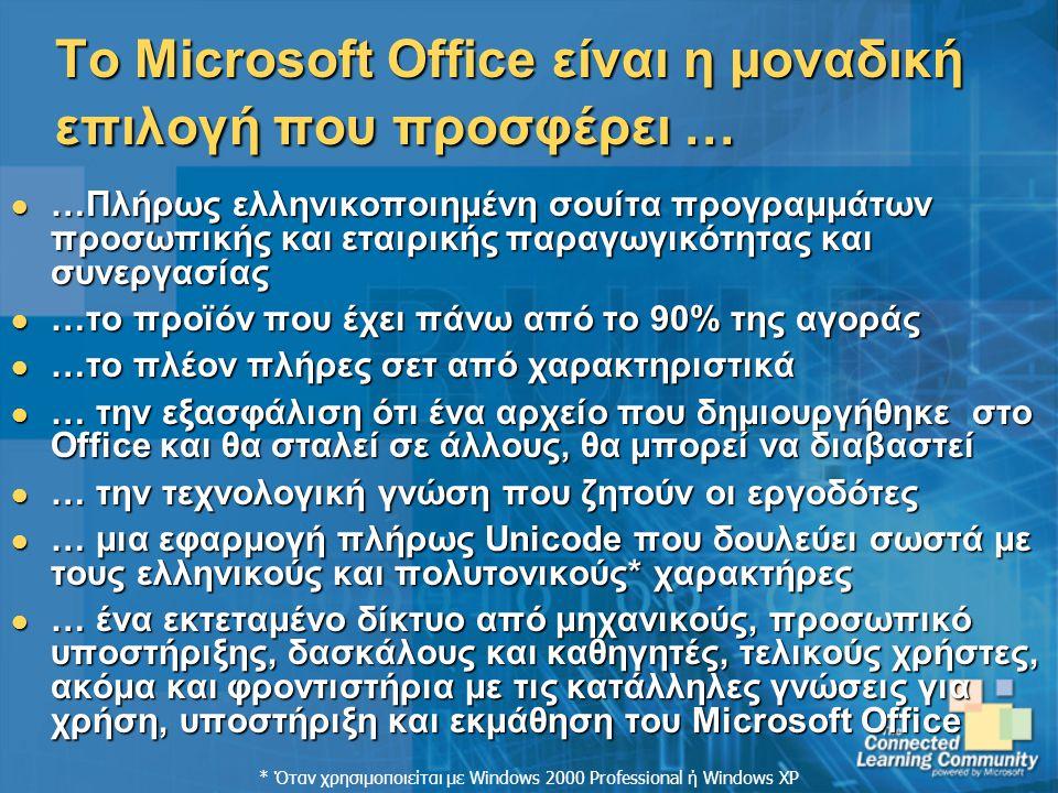 Το Microsoft Office είναι η μοναδική επιλογή που προσφέρει …