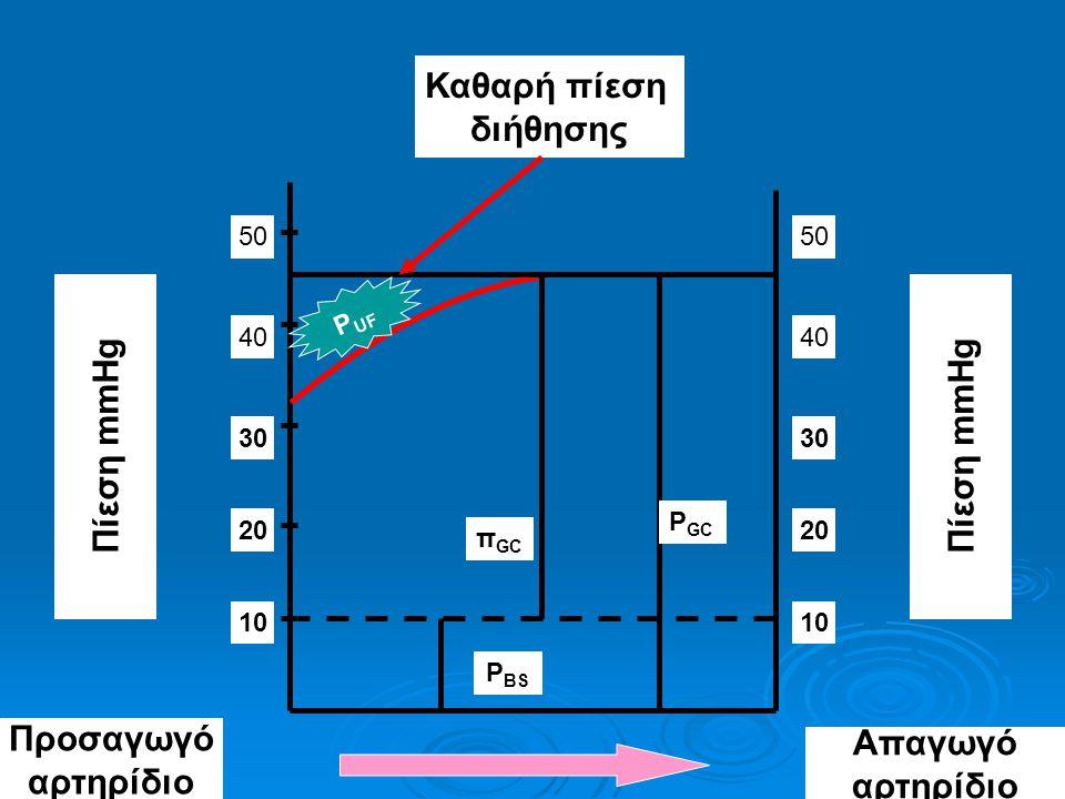 Καθαρή πίεση διήθησης Πίεση mmHg Πίεση mmHg Προσαγωγό αρτηρίδιο