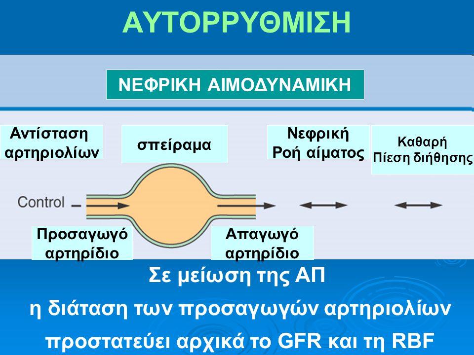 η διάταση των προσαγωγών αρτηριολίων