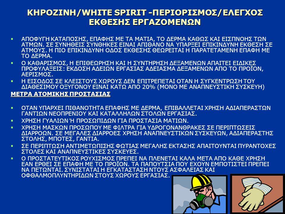 ΚΗΡΟΖΙΝΗ/WHITE SPIRIT -ΠΕΡΙΟΡΙΣΜΟΣ/ΕΛΕΓΧΟΣ ΕΚΘΕΣΗΣ ΕΡΓΑΖΟΜΕΝΩΝ