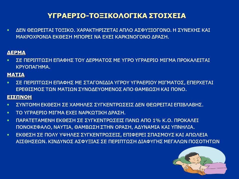 ΥΓΡΑΕΡΙΟ-ΤΟΞΙΚΟΛΟΓΙΚΑ ΣΤΟΙΧΕΙΑ