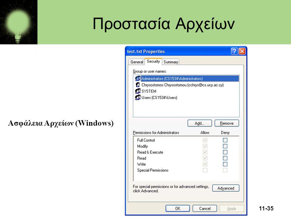 Προστασία Αρχείων Ασφάλεια Αρχείων (Windows)