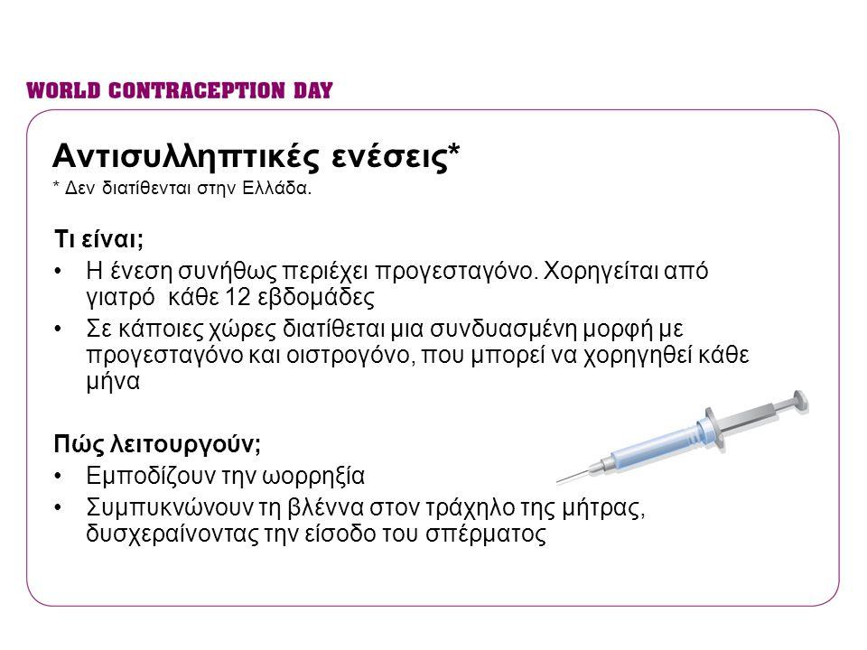 Αντισυλληπτικές ενέσεις* * Δεν διατίθενται στην Ελλάδα.