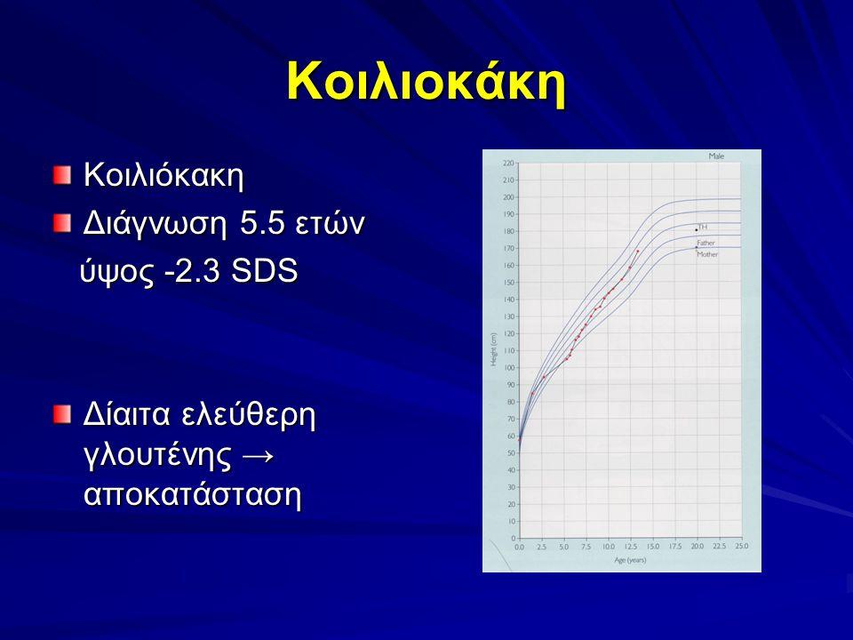 Κοιλιoκάκη Κοιλιόκακη Διάγνωση 5.5 ετών ύψος -2.3 SDS