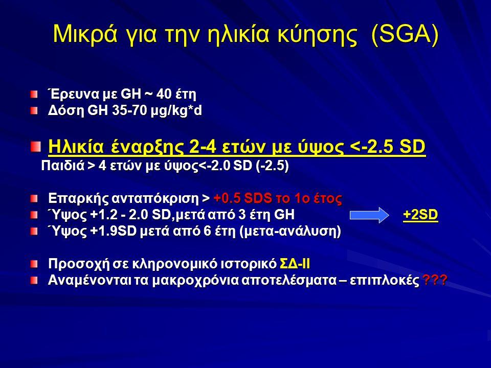 Μικρά για την ηλικία κύησης (SGA)