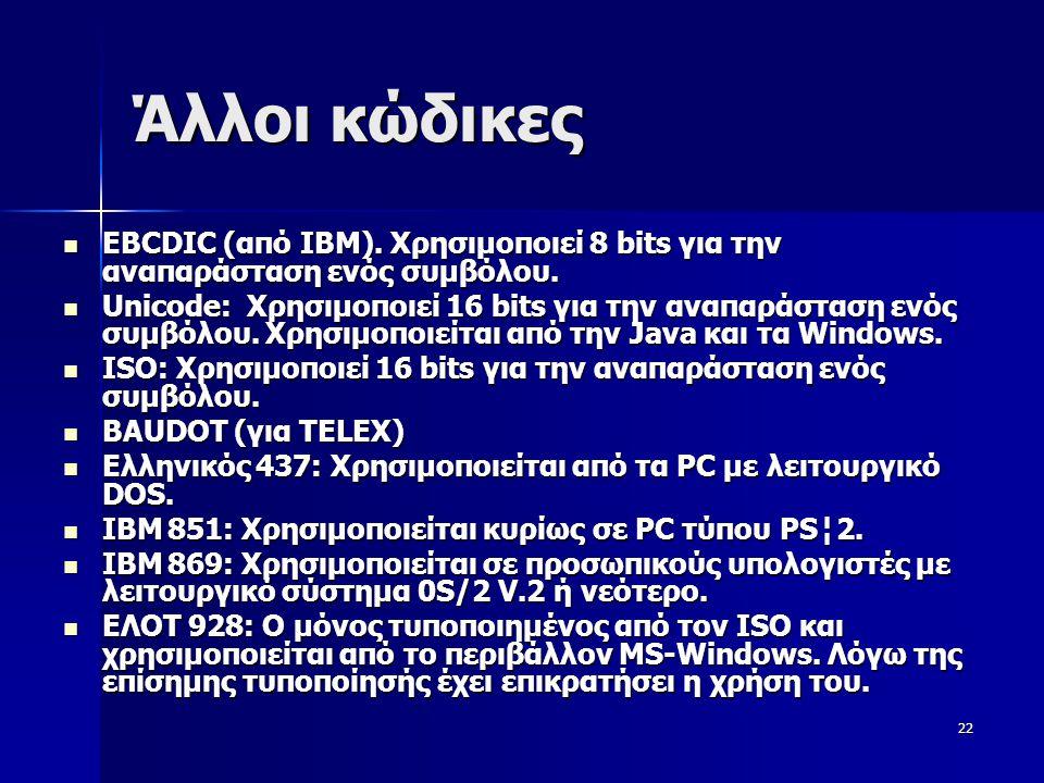Άλλοι κώδικες EBCDIC (από ΙΒΜ). Χρησιμοποιεί 8 bits για την αναπαράσταση ενός συμβόλου.