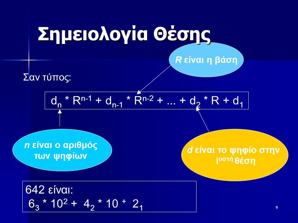 Σημειολογία Θέσης dn * Rn-1 + dn-1 * Rn-2 + ... + d2 * R + d1