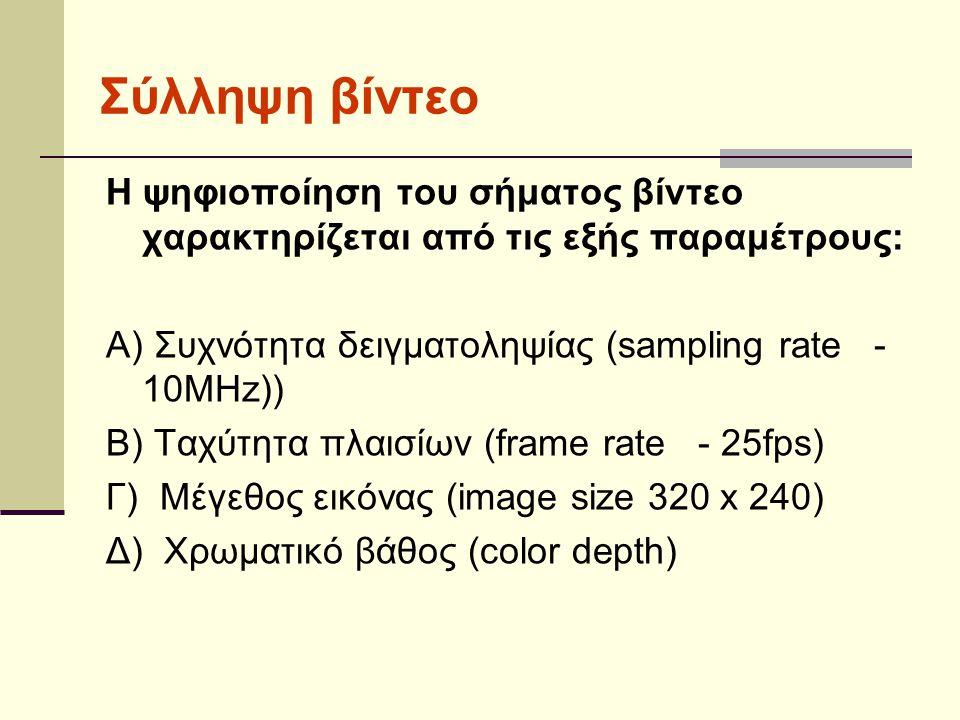Σύλληψη βίντεο Η ψηφιοποίηση του σήματος βίντεο χαρακτηρίζεται από τις εξής παραμέτρους: Α) Συχνότητα δειγματοληψίας (sampling rate - 10MHz))
