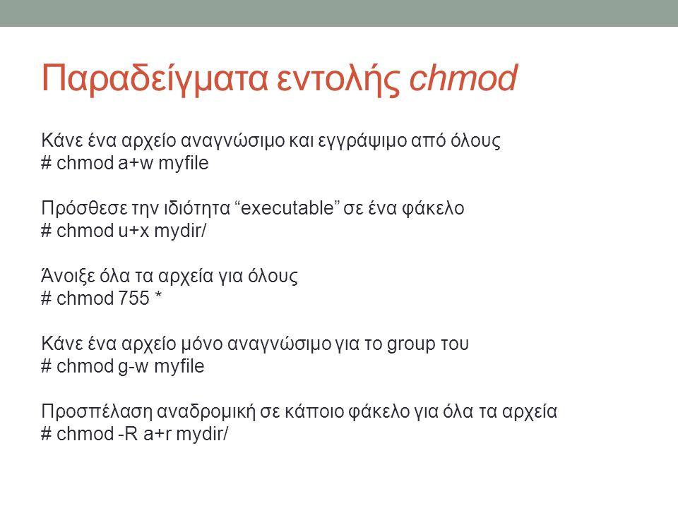 Παραδείγματα εντολής chmod