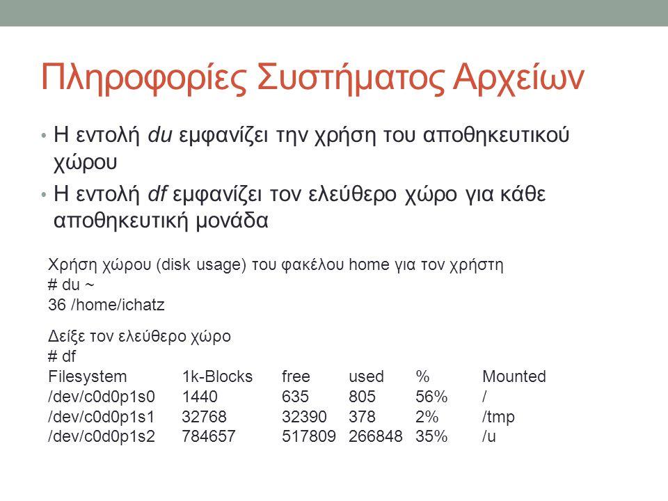 Πληροφορίες Συστήματος Αρχείων