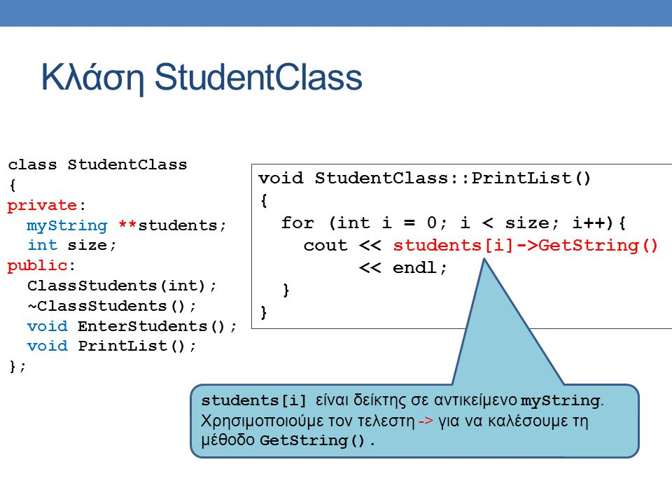 Κλάση StudentClass void StudentClass::PrintList() {