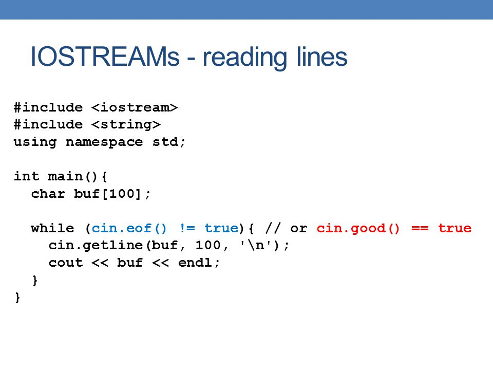 IOSTREAMs - reading lines