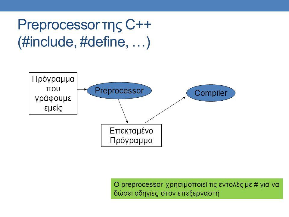 Preprocessor της C++ (#include, #define, …)