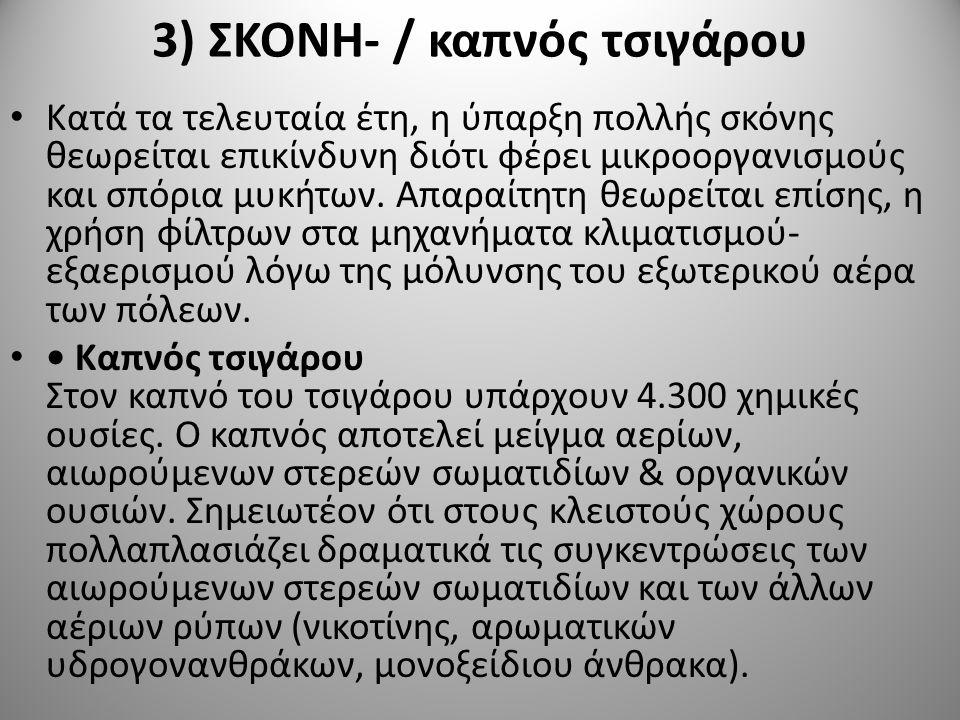 3) ΣΚΟΝΗ- / καπνός τσιγάρου