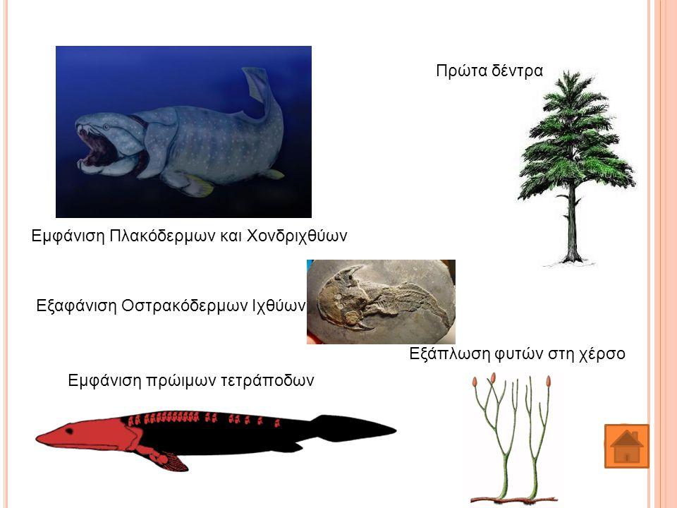 Πρώτα δέντρα Εμφάνιση Πλακόδερμων και Χονδριχθύων. Εξαφάνιση Οστρακόδερμων Ιχθύων. Εξάπλωση φυτών στη χέρσο.