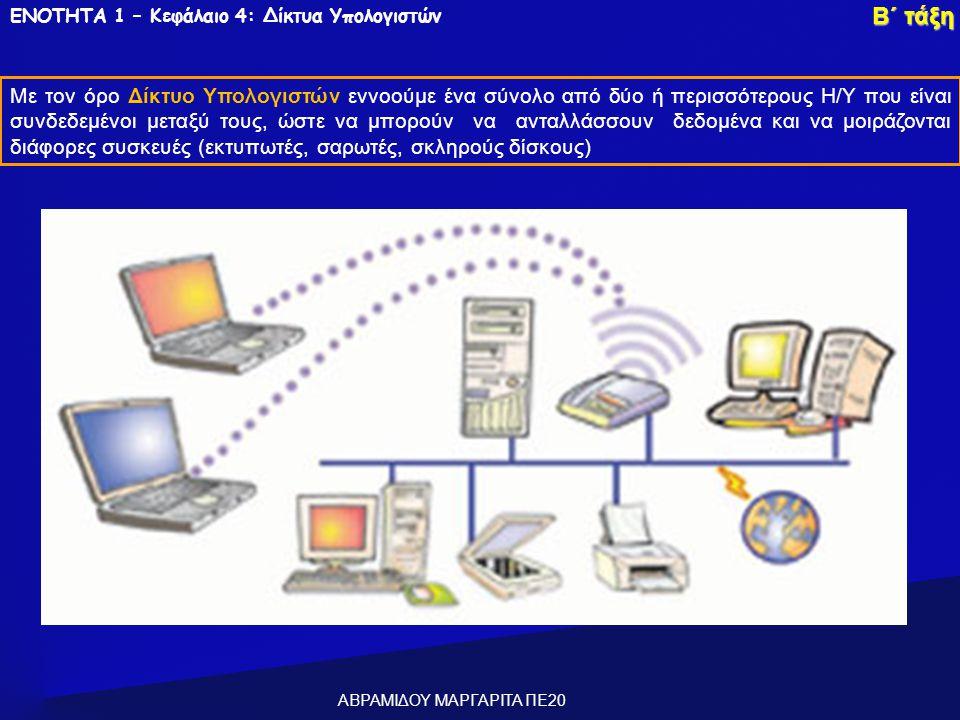 ΕΝΟΤΗΤΑ 1 – Κεφάλαιο 4: Δίκτυα Υπολογιστών