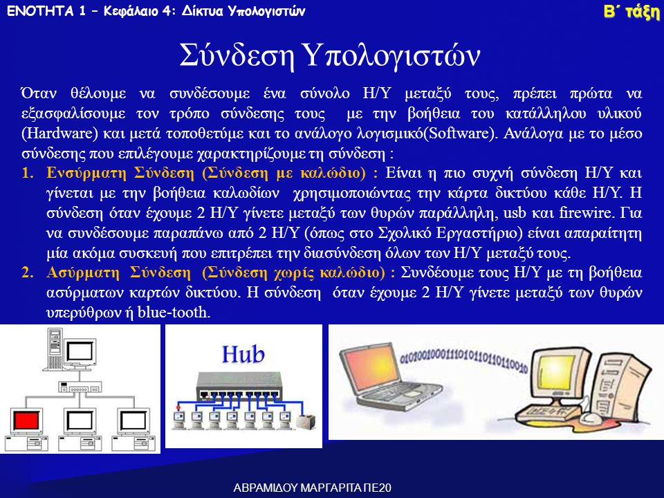 Σύνδεση Υπολογιστών Β΄ τάξη