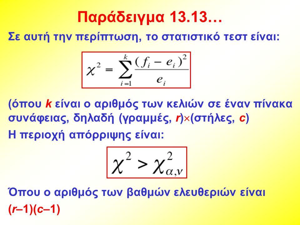 Παράδειγμα 13.13… Σε αυτή την περίπτωση, το στατιστικό τεστ είναι: