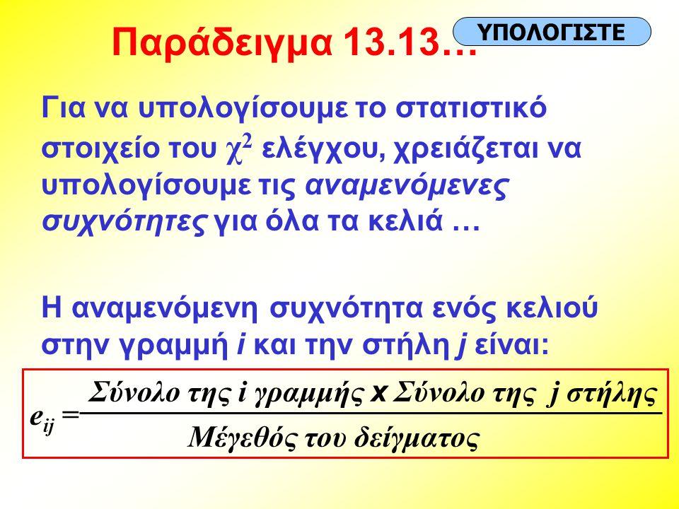 Παράδειγμα 13.13… ΥΠΟΛΟΓΙΣΤΕ.