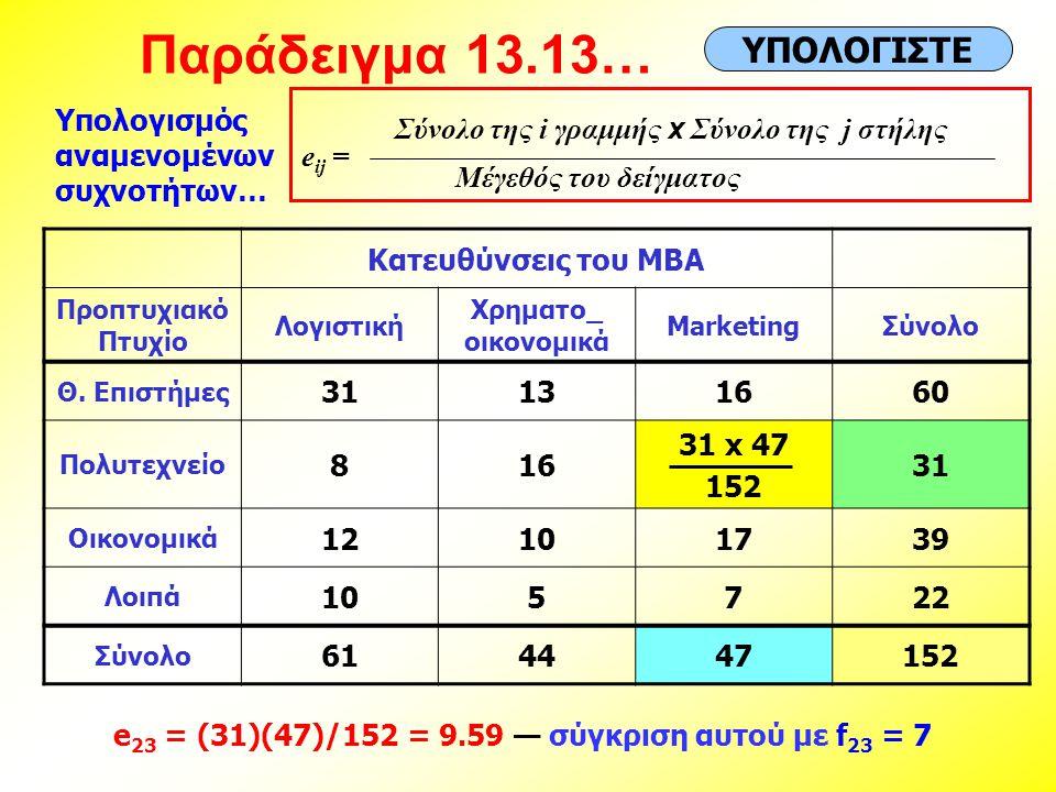 e23 = (31)(47)/152 = 9.59 — σύγκριση αυτού με f23 = 7