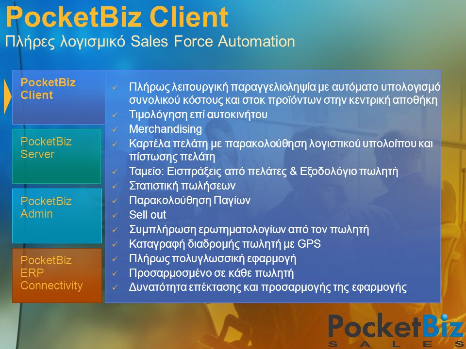 PocketBiz Client Πλήρες λογισμικό Sales Force Automation