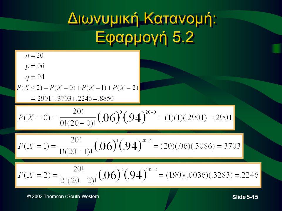 Διωνυμική Κατανομή: Εφαρμογή 5.2