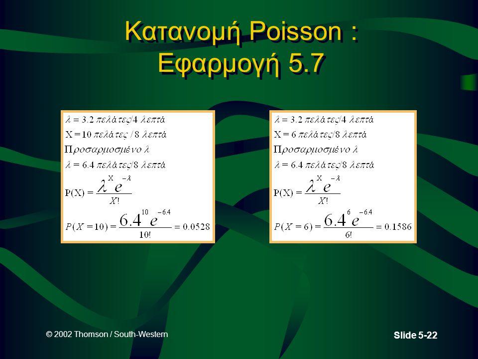 Κατανομή Poisson : Εφαρμογή 5.7