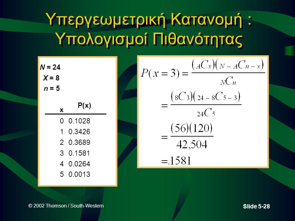 Υπεργεωμετρική Κατανομή : Υπολογισμοί Πιθανότητας