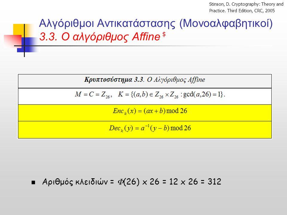 Αλγόριθμοι Αντικατάστασης (Μονοαλφαβητικοί) 3.3. O αλγόριθμος Affine