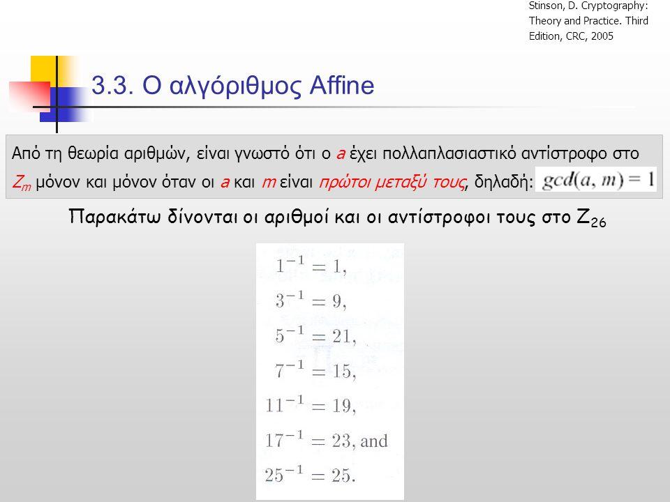 Παρακάτω δίνονται οι αριθμοί και οι αντίστροφοι τους στο Z26