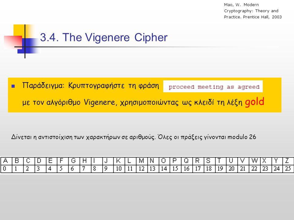 3.4. Τhe Vigenere Cipher Παράδειγμα: Κρυπτογραφήστε τη φράση