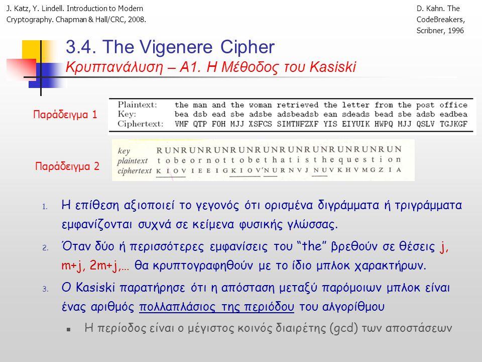 3.4. Τhe Vigenere Cipher Κρυπτανάλυση – Α1. Η Μέθοδος του Kasiski