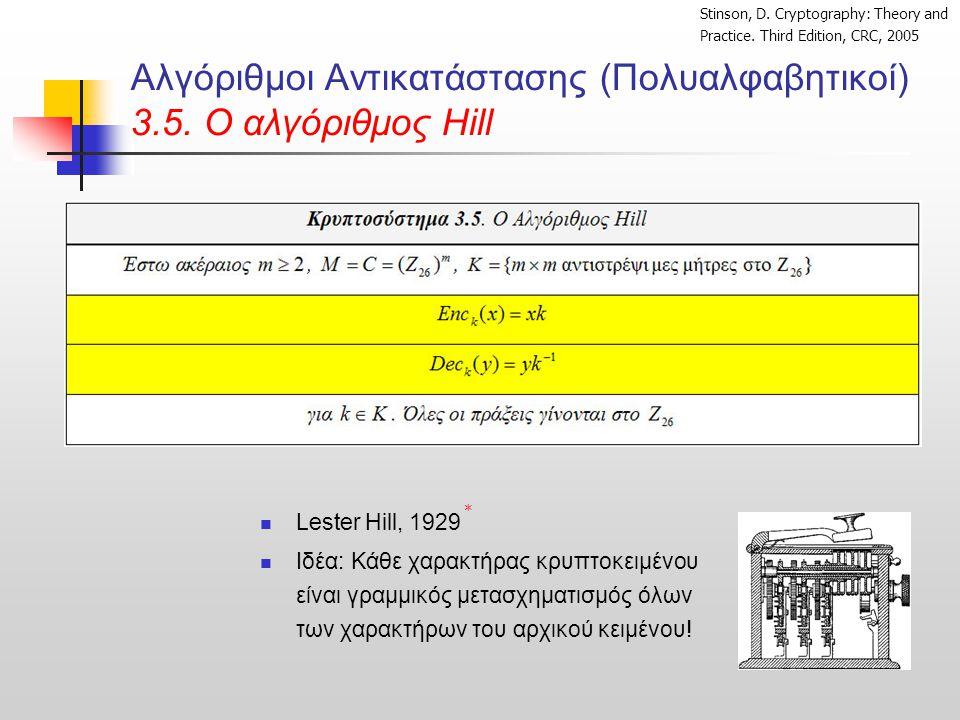 Αλγόριθμοι Αντικατάστασης (Πολυαλφαβητικοί) 3.5. O αλγόριθμος Hill