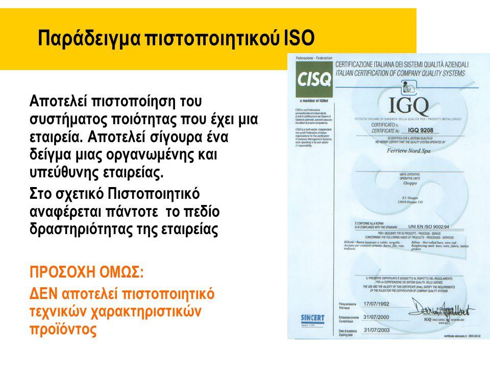 Παράδειγμα πιστοποιητικού ISO