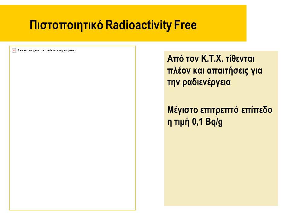 Πιστοποιητικό Radioactivity Free