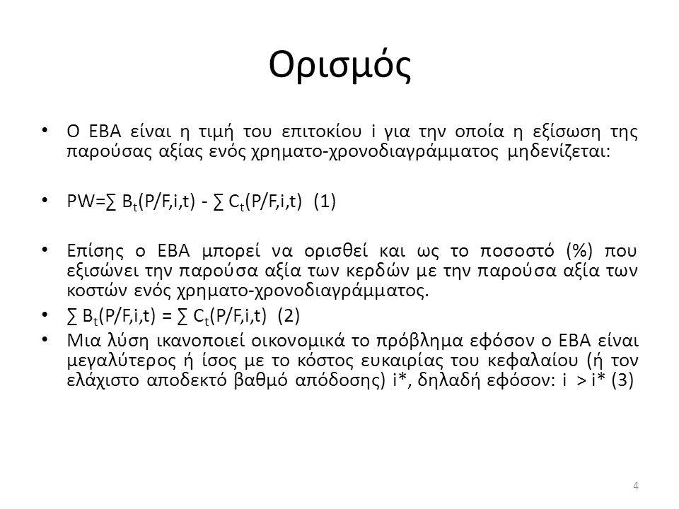 Ορισμός Ο ΕΒΑ είναι η τιμή του επιτοκίου i για την οποία η εξίσωση της παρούσας αξίας ενός χρηματο-χρονοδιαγράμματος μηδενίζεται: