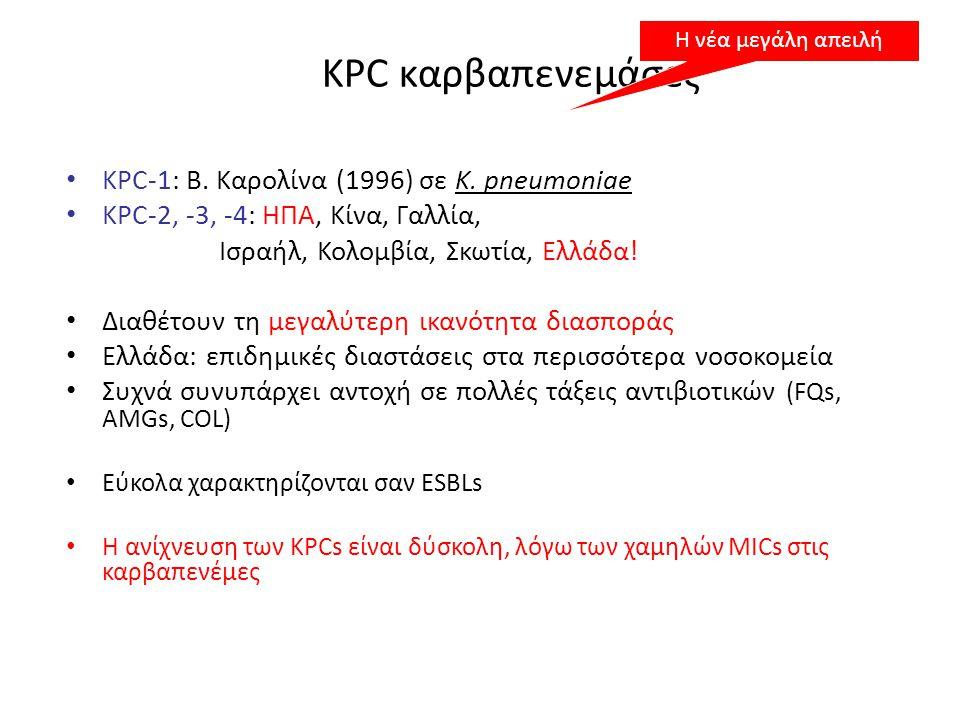 KPC καρβαπενεμάσες KPC-1: Β. Καρολίνα (1996) σε K. pneumoniae