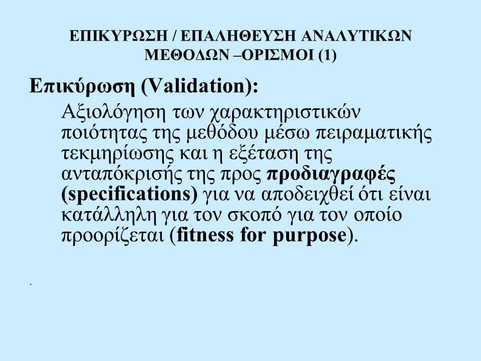 ΕΠΙΚΥΡΩΣΗ / ΕΠΑΛΗΘΕΥΣΗ ΑΝΑΛΥΤΙΚΩΝ ΜΕΘΟΔΩΝ –ΟΡΙΣΜΟΙ (1)