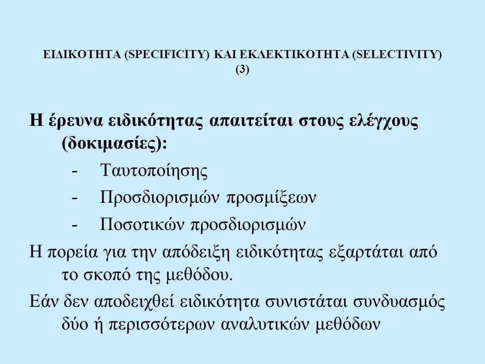 ΕΙΔΙΚΟΤΗΤΑ (SPECIFICITY) ΚΑΙ ΕΚΛΕΚΤΙΚΟΤΗΤΑ (SELECTIVITY) (3)