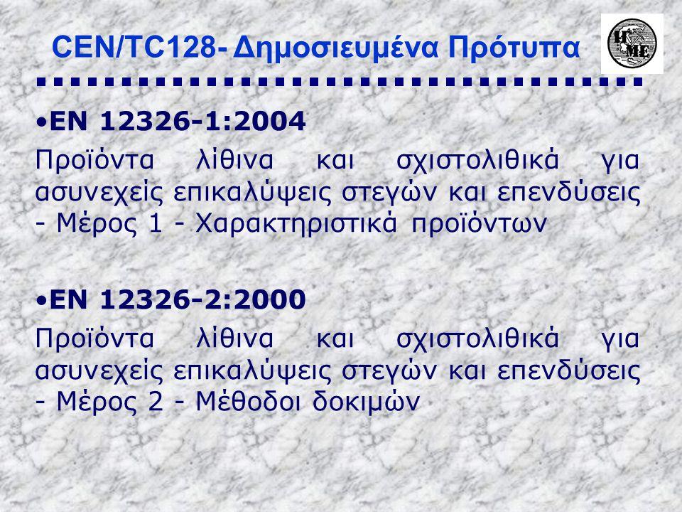 CEN/TC128- Δημοσιευμένα Πρότυπα