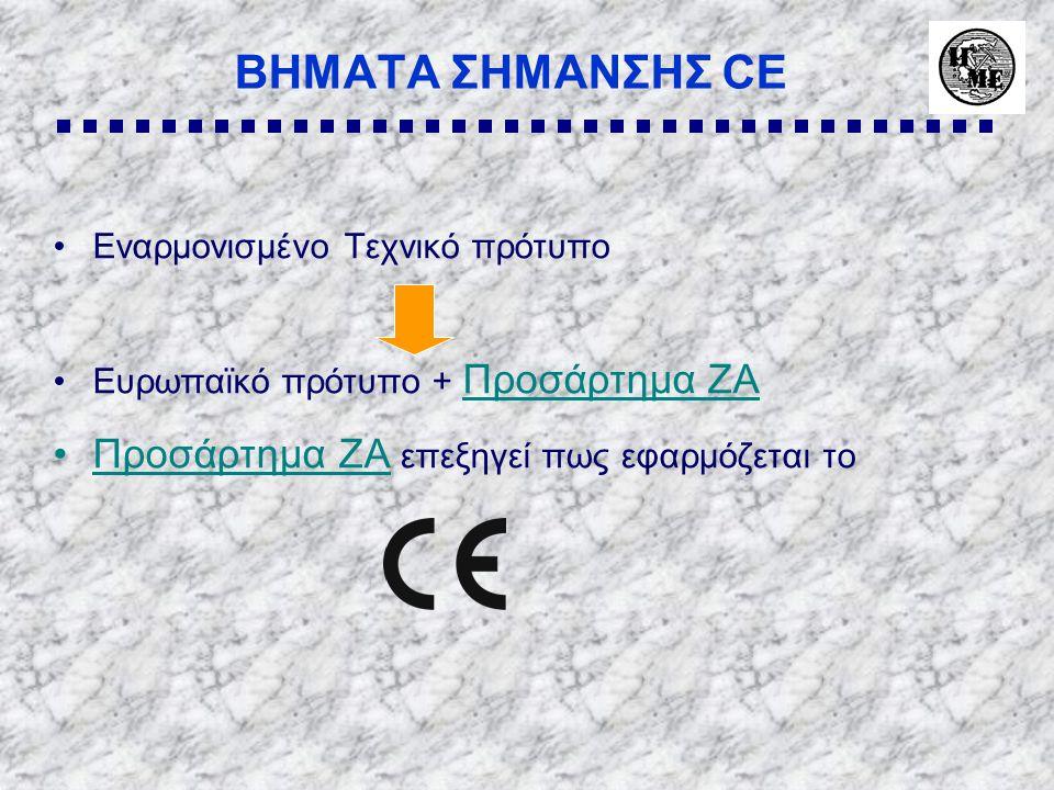 ΒΗΜΑΤΑ ΣΗΜΑΝΣΗΣ CE Προσάρτημα ZA επεξηγεί πως εφαρμόζεται το