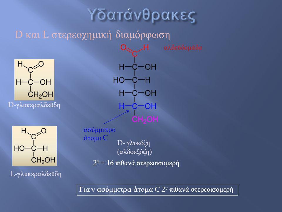 Υδατάνθρακες D και L στερεοχημική διαμόρφωση αλδεϋδομάδα