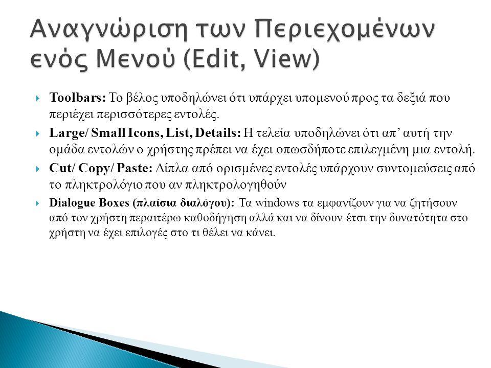 Αναγνώριση των Περιεχομένων ενός Μενού (Edit, View)